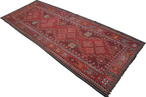 59 x 149 inches Turkish Kilim Rug Hand Woven Large Runner - 73 YEARS OLD ANTIQUE