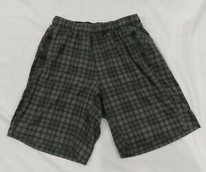 Lululemon Men's Running Shorts Gray Plaid Liner Size Small S Active Workout