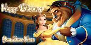 Birthday banner Personalized 4ft x 2 ft  Beauty and the Beast Disney