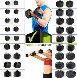 PAIRS Rubber-Coated Hex Dumbbells CAST IRON Weights Home Gym Strength Training