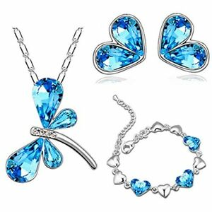 Sterling Silver Necklace Earrings Bracelet Set for Valentiens Women Girls Gift