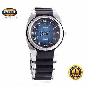 FOSSIL AM3985 Men Round DIVER Watch Steel Bracelet Black Leather Blue Dial Date