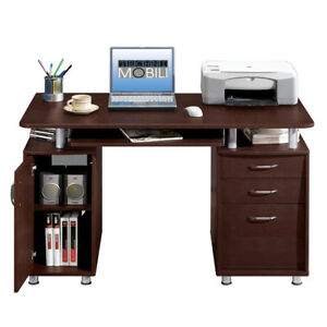 Computer PC Desk Home Office Study 3 Drawers Workstation Writing Table Brown NEW