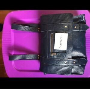 VereVerto Genuine Leather Navy Blue Backpack Messenger Bag Shoulder Purse