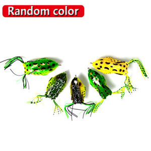 5Pcs Soft Fishing Lures Large Frog Topwater Crankbait Hooks Bass Bait