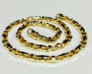 18k Solid Yellow Gold Anchor Mariner Bullet chain necklace 7 MM 123 grams 24