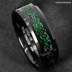 8mm Tungsten Ring Black Celtic Dragon Green Carbon Fiber ATOP Mens Wedding Band $13.89