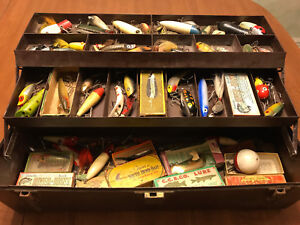Vintage Outing Tackle Box - Full of Old Fishing Lures Boxes Etc.