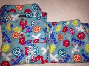 2 PC~NWT~JOE BOXER~Blue Peace Heart Smiley Flannel Pajamas SET~MEDIUM M PJ