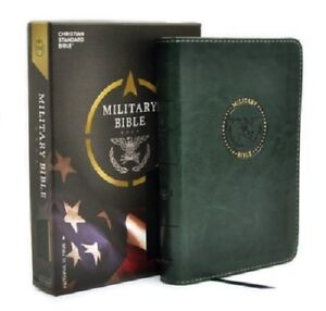 Army Green Military Christian Bible with a St. Michael Magnet and 2 Prayer Cards