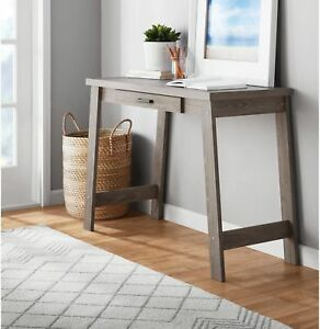 Rustic Oak Writing Computer Desk Home Office Student Console Table With 1 Drawer