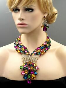 Huge Glod Plated Multi-color Crystal Wedding Necklace Earrings Jewelry