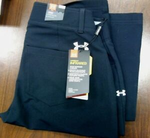 C39 - NEW - NWT Womens UNDER ARMOUR Cold Gear Infrared Black Golf Pants  SIZE 2