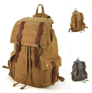 Men Women Canvas Leather Backpack Rucksack Travel Book School Bag Simple Large