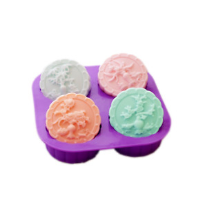 X-Haibei 4-Cavity Four Seasons Tree Soap Round Silicone Molds Candle Making for