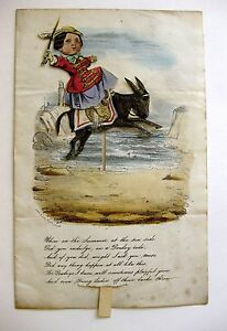 Rare Dean & Son 1857 Hand Colored Moveable Greeting Card Nice Condition !