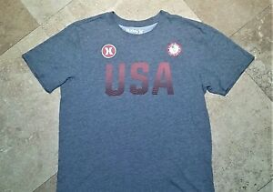 Hurley Olympic Team with Nike Dri-Fit Short Sleeve Tee Shirt Cotton Blend Gray L