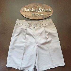 Callaway Golf Collection Mens Golf Shorts Pleated Front Beige Sz. 34 Polyester