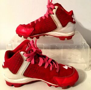 Under Armour 2Y Red Pink Boys Baseball Rubber Cleats
