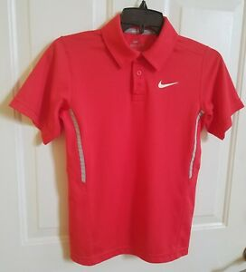 Boys Nike Dry Fit Polo Shirt Red Size Youth Medium YMD Excellent Condition