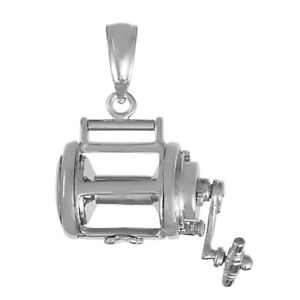 925 Sterling Silver Nautical Charm Pendant 3D Fishing Reel Movable