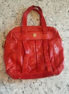 Vtg Tory Burch Soft Pebbled Leather Handbag  Purse Lipstick Red Gold Hardware