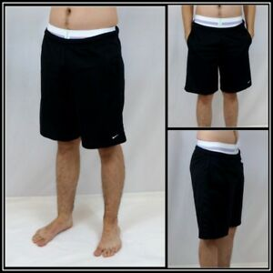 Nike Solid Black AthleticBasketballSoccerWorkout Short Sz (L) Large #12892