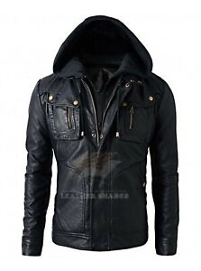 New Men's Motorcycle Biker Brando Style Vintage Real Leather Hoodie Jacket