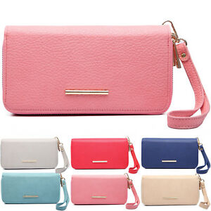 Faux Leather Double Zipped Women Purse Wristlet Wallet Ladies Girl Coin Notes UK