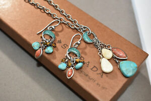 Silpada Turquoise Tigers Eye Coral Earring Necklace Set W1523 N1508 RARE HTF 19""