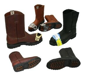 MEN#x27;S STEEL TOE WORK BOOTS PULL ON SAFETY GENUINE LEATHER OIL RESISTANT #410