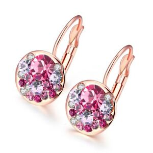 Swarovski Crystal Leverback Earring Cluster in 18K Gold Plated