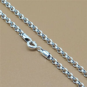 Sterling Silver Rolo Chain Necklace Belcher Rollo 3mm 18 20 22 24 26 28 30 32 34