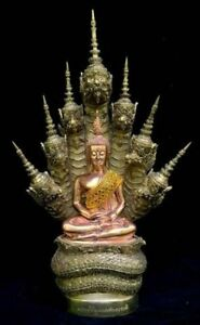 Buddha Emperor Naga Artistic Copper Thai Statue Amulet Wealth Lucky Fortune Rich