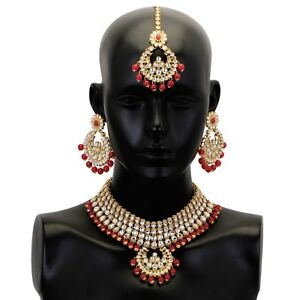 Red Kundan Necklace Earrings Tikka Bridal Choker Bollywood Indian Jewelry Set