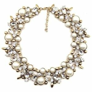COLLAR BIB NECKLACES & PENDANTS COSTUME STATEMENT NECKLACE CHOKER PEARL CRYSTAL