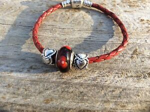 Authentic PANDORA 925 Sterling Silver Red Leather Bracelet+Charms