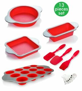 Silicone Baking Molds Set for Bread Cake Cupcakes Muffin Round + Pans Utensils