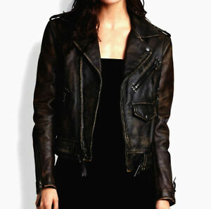 Women Ladies Designer Moto Biker Distressed Black Vintage Leather Jacket