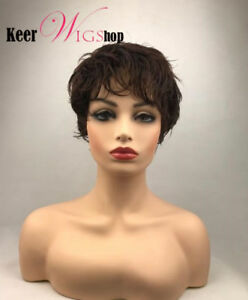 Chic Short Cut Curly Hairstyle Dark Brown Color Synthetic Hair Wigs For Women