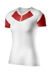 2XU Women's XTRM Compression Short Sleeve Top WhiteScarlet Medium