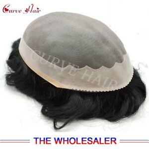 Fine Mono Mens Toupee Poly Coating Black Durable US Men's Hairreplacement System
