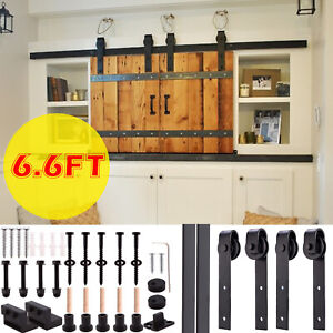 566.6FT Rustic Sliding Barn Wood Double Door Closet Cabinet Hardware Track Kit