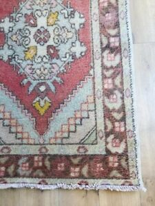 Vintage Hand Knotted Turkish runner rug