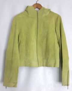 Mary Jane Marcasiano Womens Lite Green Zip Hoodie Soft Suede Leather Jacket Sz10