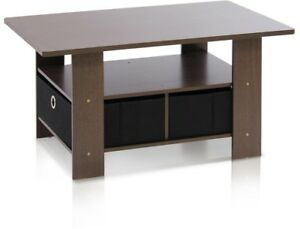Furinno Home Living Dark Brown And Black Built In Storage Coffee Table 2 Drawers
