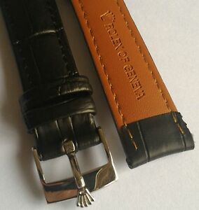 Rolex 18mm 17mm black leather bracelet Watch band with steel Rolex Watch Buckle