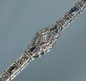Art Deco 14K White Gold Diamond Sapphire Filigree Bracelet 7 14