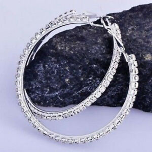 14k Solid White Gold Hoop Wedding Earrings 1.00ct Round Cut Diamond For Women's