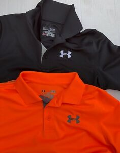 Lot 2 Under Armour Boys Youth Large Golf Polo Shirts Black Orange YLG